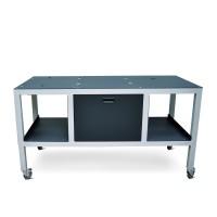 OKI Eisentisch mit Rädern für den OKI 1050/1040 Pro und Aufwickler für eine reibungslose Mobilität in der Druckeranwendung, optional die separate Tischerweiterung für den Matrixentferner des OKI 1050 Pro mitbestellen