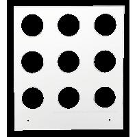 Primera Eddie - manuelles Tablett 12 cm Quadrat - 25/40 mm 3x3 Radius (MM) (9 Löcher mit 25 mm Durchmesser; für Objekte mit maximaler maximal 40mm Außendurchmesser), z.B. für Kekse, Plätzchen, Cookies u.v.m