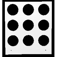 Primera Eddie - manuelles Tablett 12 cm Quadrat - 30/40 mm 3x3 Radius (MM) (9 Löcher mit 30 mm Durchmesser; für Objekte mit maximaler maximal 40mm Außendurchmesser), z.B. für Kekse, Plätzchen, Oblaten u.v.m