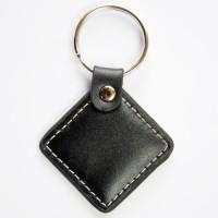 RFID Leder Schlüsselanhänger für Türanwendungen / Keyfob schwarz mit Wunschchip