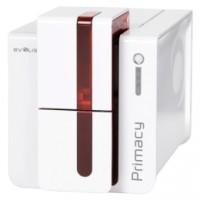 Kartendrucker mit RFID Evolis Primacy beidseitiger Druck,  USB, Ethernet, RFID Schreiber, rot