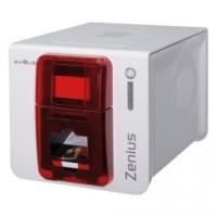 Einstiegsdrucker für Kunststoffkarten und RFID Karten: Evolis Zenius Expert, einseitig, 12 Punkte/mm (300dpi), USB, Ethernet, Contactless, rot