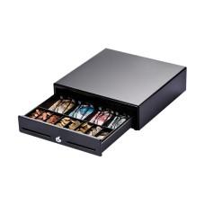 Flexible Miniatur-Kassenlade Metapace K-2, schwarz, Frontöffnung,(BxHxT): 330x101x330mm, 4 Scheinfächer (horizontal), 8 Münzfächer, 1 Scheckfach