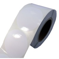 102mm rund, 625 Etiketten auf Rolle, (4'' ) Papier weiß glänzend Kern: 76mm (3'' AD: 15,2cm (6'') für LX900e, LX910e, LX1000e, LX2000e, ohne Entgitterung mit Blackmark
