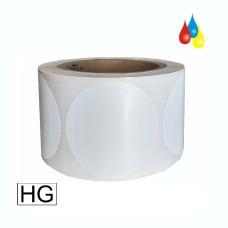 """L36PWG076C-HIS 3"""" (76 mm) Rund, Hochglanz Polyester Etikett  850 pro Rolle für LX800/LX810 und LX900/LX910 VP700 CDT1600 074828"""
